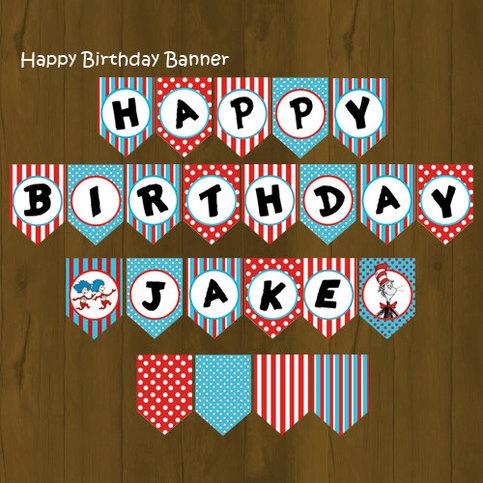 Dr Seuss Printable Happy Birthday Banner On Storenvy