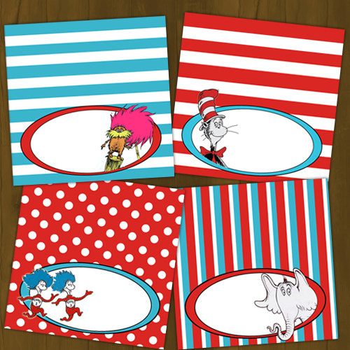 photo about Printable Food Labels named Dr Seuss Cat inside of the Hat Printable Food stuff Labels
