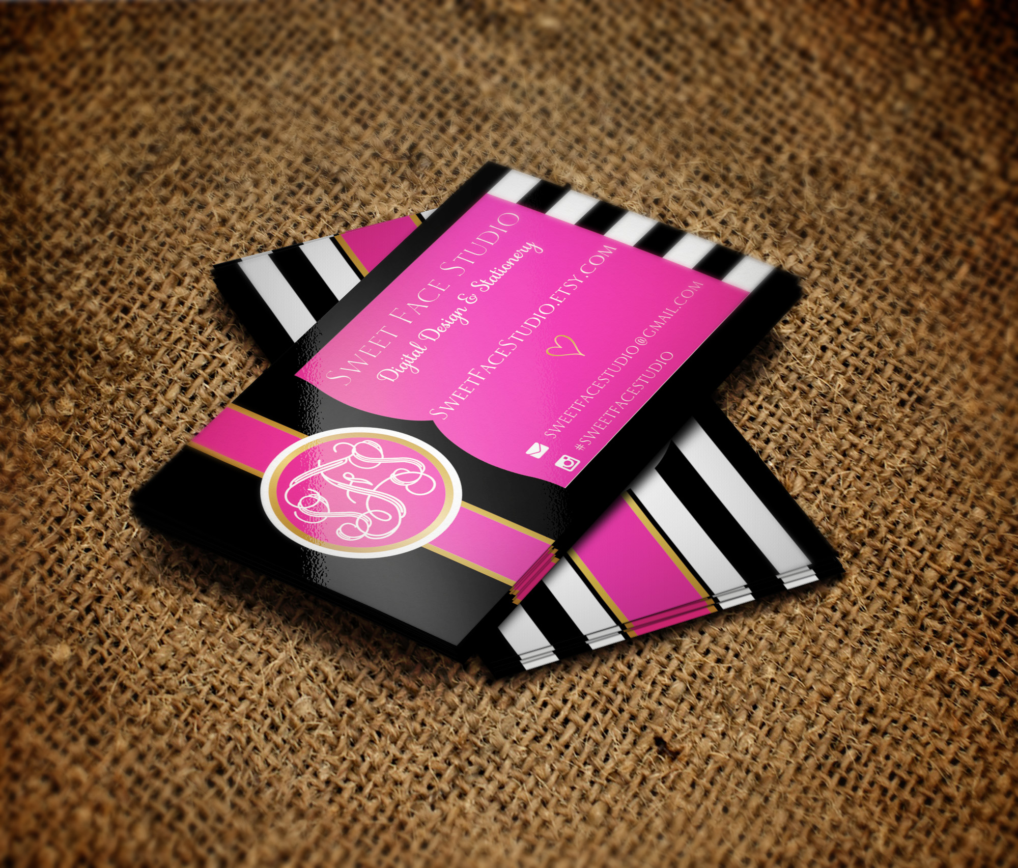 Finest Monogrammed Personalized Striped Hot Pink, Black, White Printable  OP62