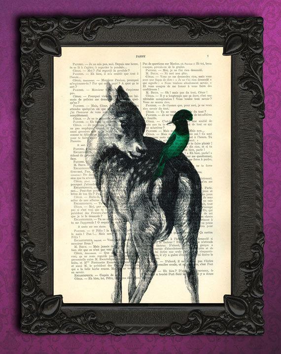 Llama Art Printed On Antique Book Page Upcycled Farm House Decor Llama Print