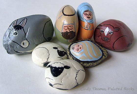 7 Piece Pastel Nativity Set Painted On Decorative Stones