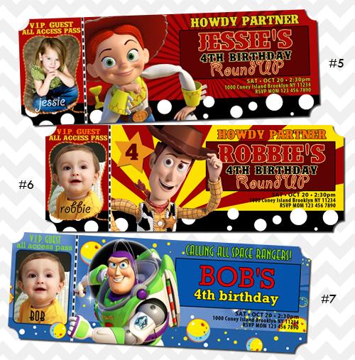 Toy Story Invitations Ticket Invites