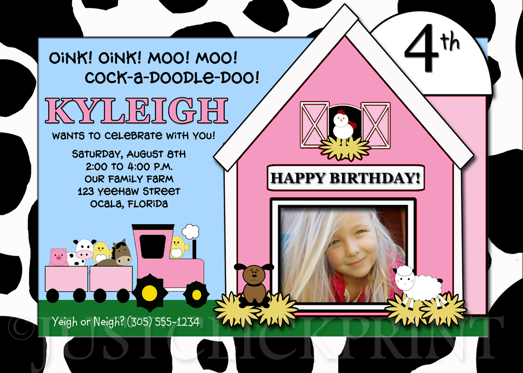 Girls Barnyard Bash Birthday Invitation Printable Just Click Print