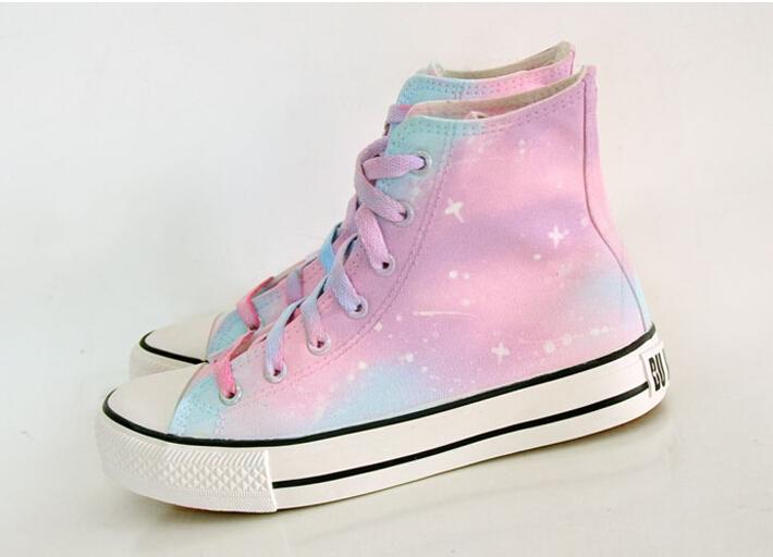 Harajuku Gradient Galaxy Canvas Shoes On Storenvy