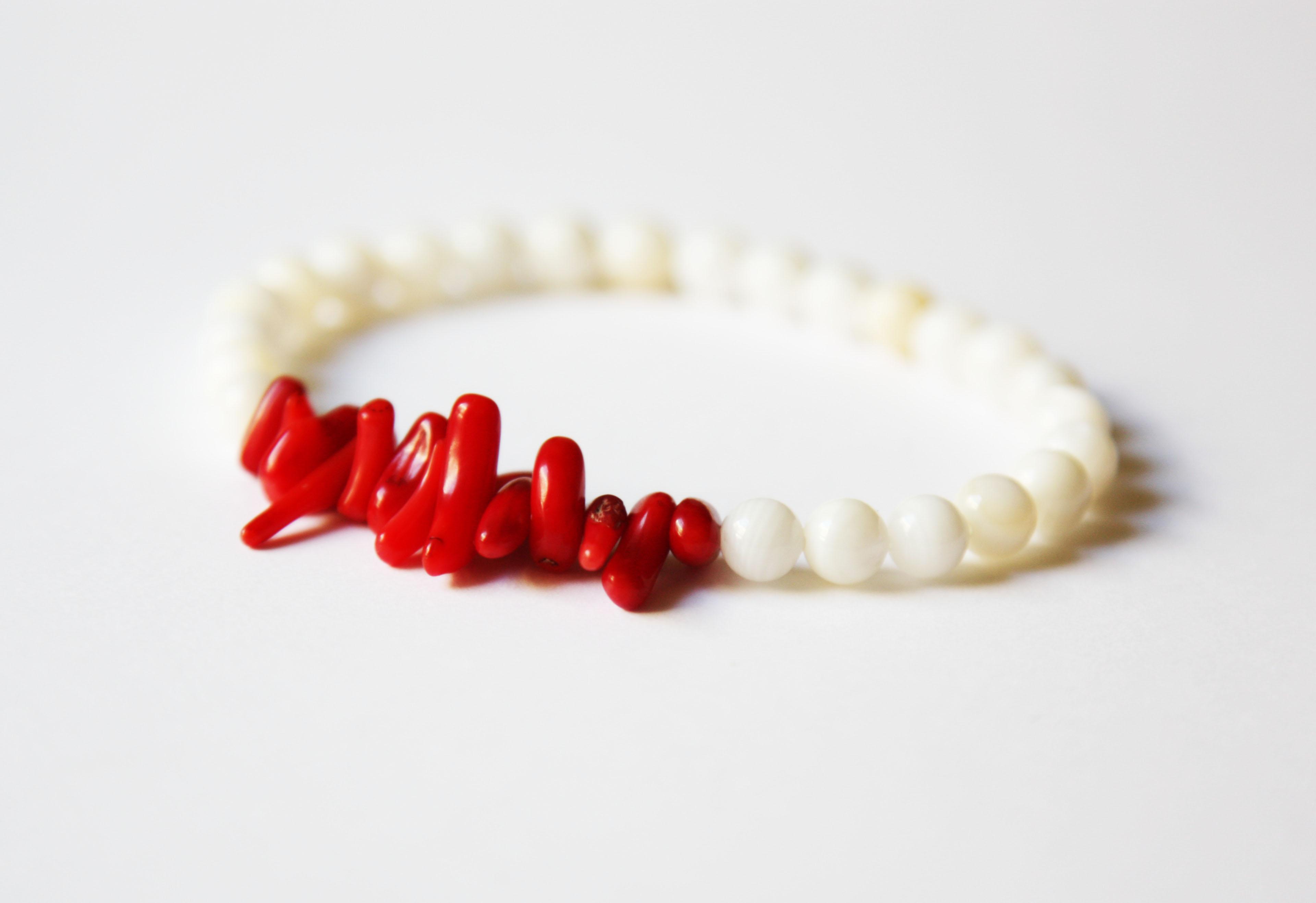 CLEARANCE SALE 30/% Coral and Red Quartz Bracelet Birthstone Quartz Bracelet Birthstone Bracelet Coral Bracelet gemstone Bracelet