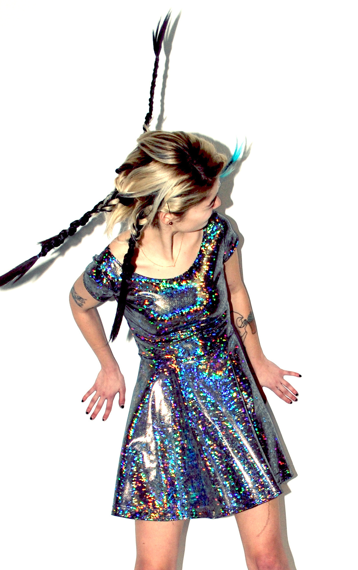 7f04a7823f6 DEVOWEVO Hologram Skater Dress on Storenvy