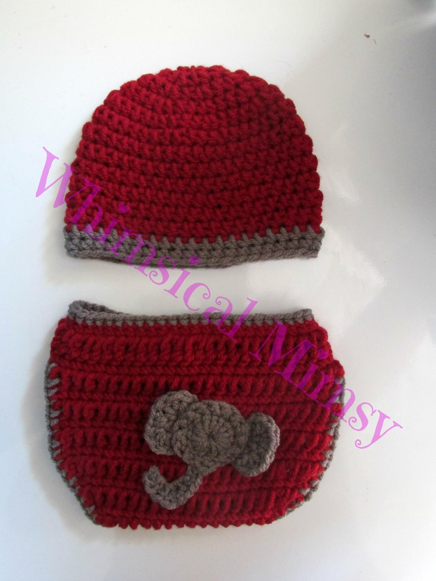 d3fd43aaba8 Crochet Alabama Football Inspired Newborn Hat and Diaper Cover Set Photo  Prop - Thumbnail 1 ...