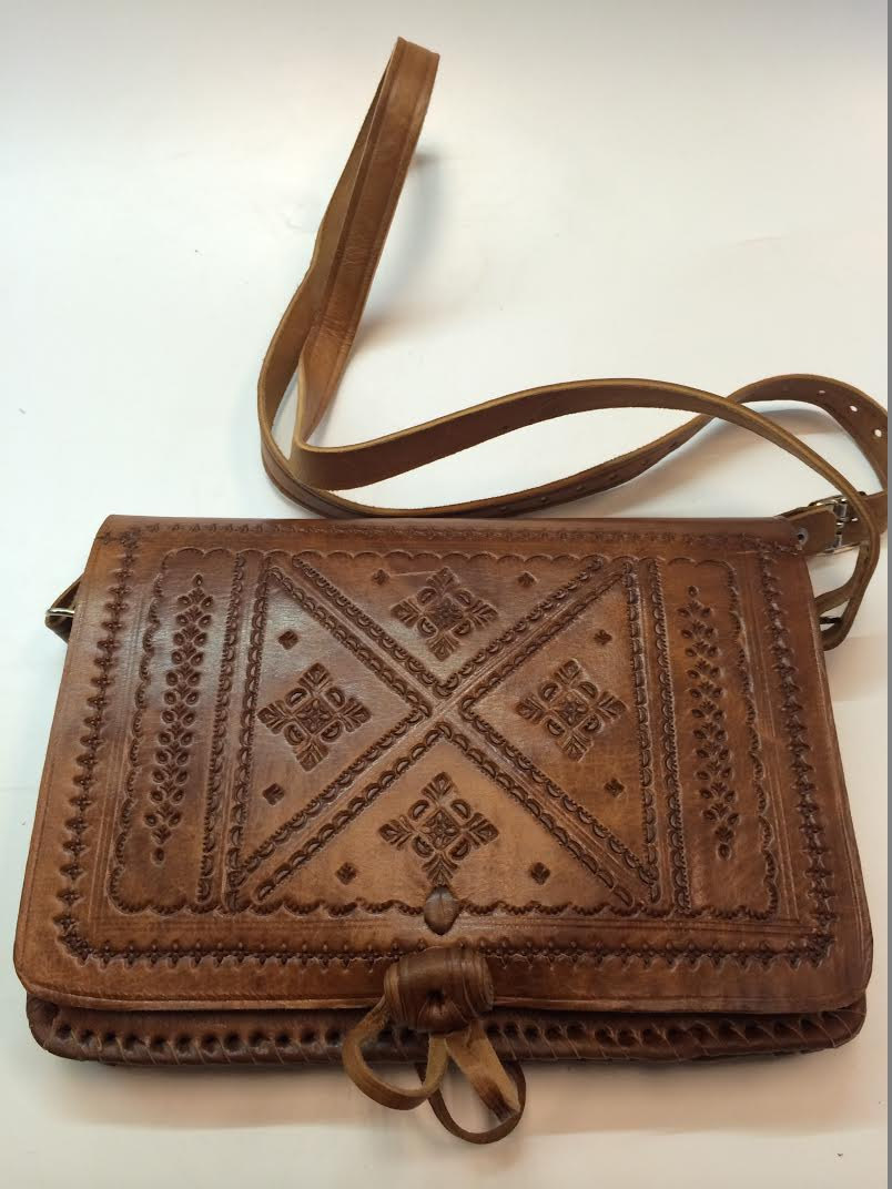 Moroccan 100% Embossed Tan Thick Leather Hand Made Bag Cross Body Purse Mini iPad Case (19434588 095B) photo