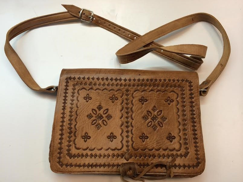 Moroccan 100% Embossed Tan Thick Leather Hand Made Bag Cross Body Purse Mini iPad Case (19434687 4302) photo