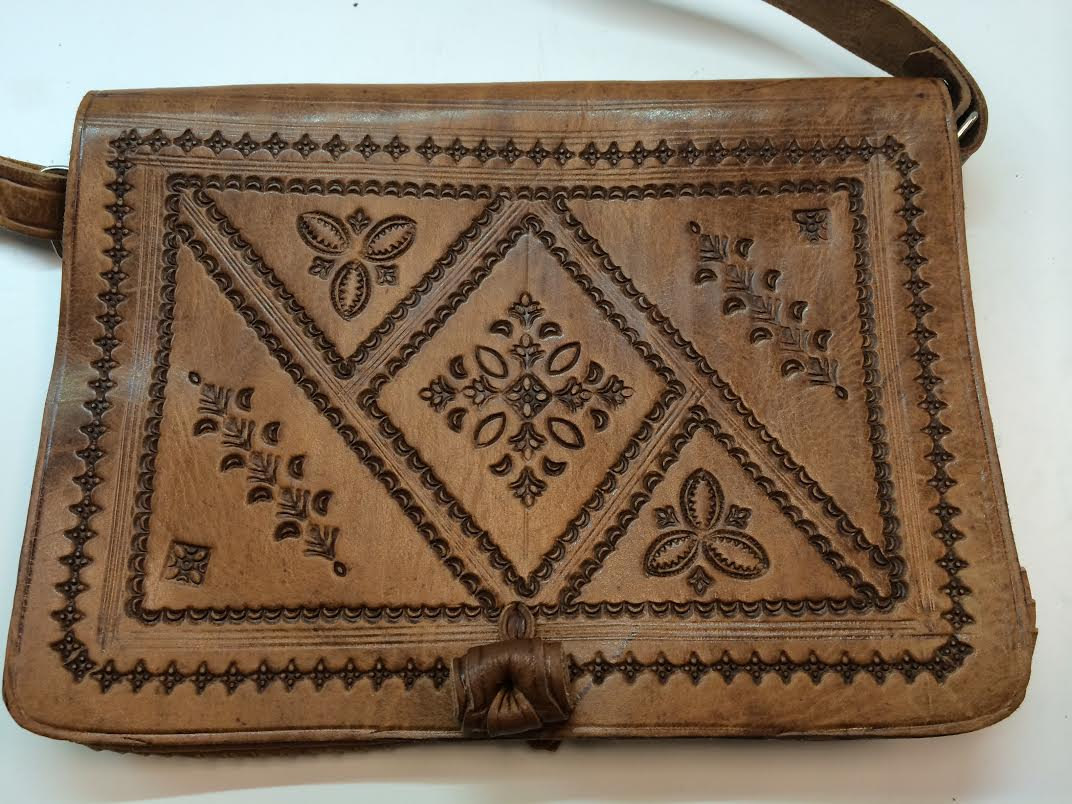 Moroccan 100% Embossed Tan Thick Leather Hand Made Bag Cross Body Purse Mini iPad Case (19434708 5BCB) photo