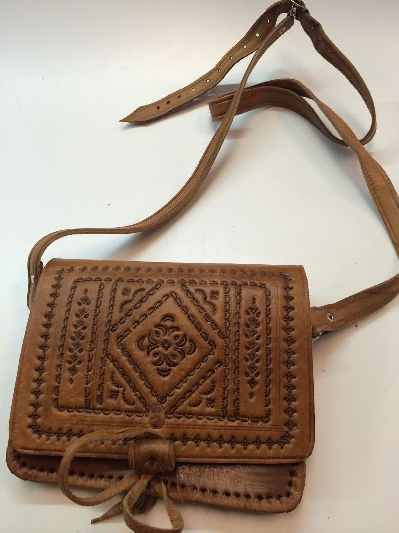 Moroccan 100% Embossed Tan Thick Leather Hand Made Bag Cross Body Small Purse (19434792 97CB) photo
