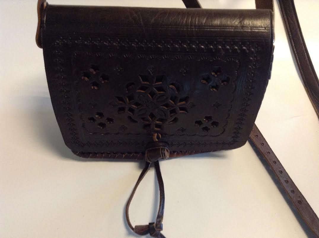 Image of 100% Brown Leather Embossed Cross Body Small Bag Hand Made in Morocco