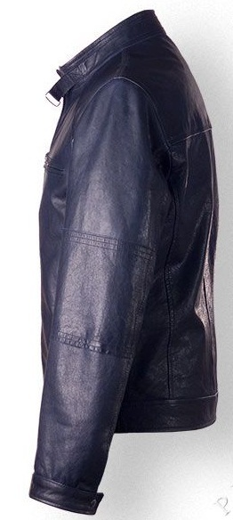 Mens Vintage Style Leather Jacket In Dark Blue Color Rangoli