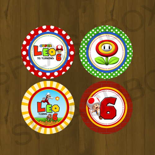 Mario Bros Birthday Printable Cupcake Toppers With Wrappers