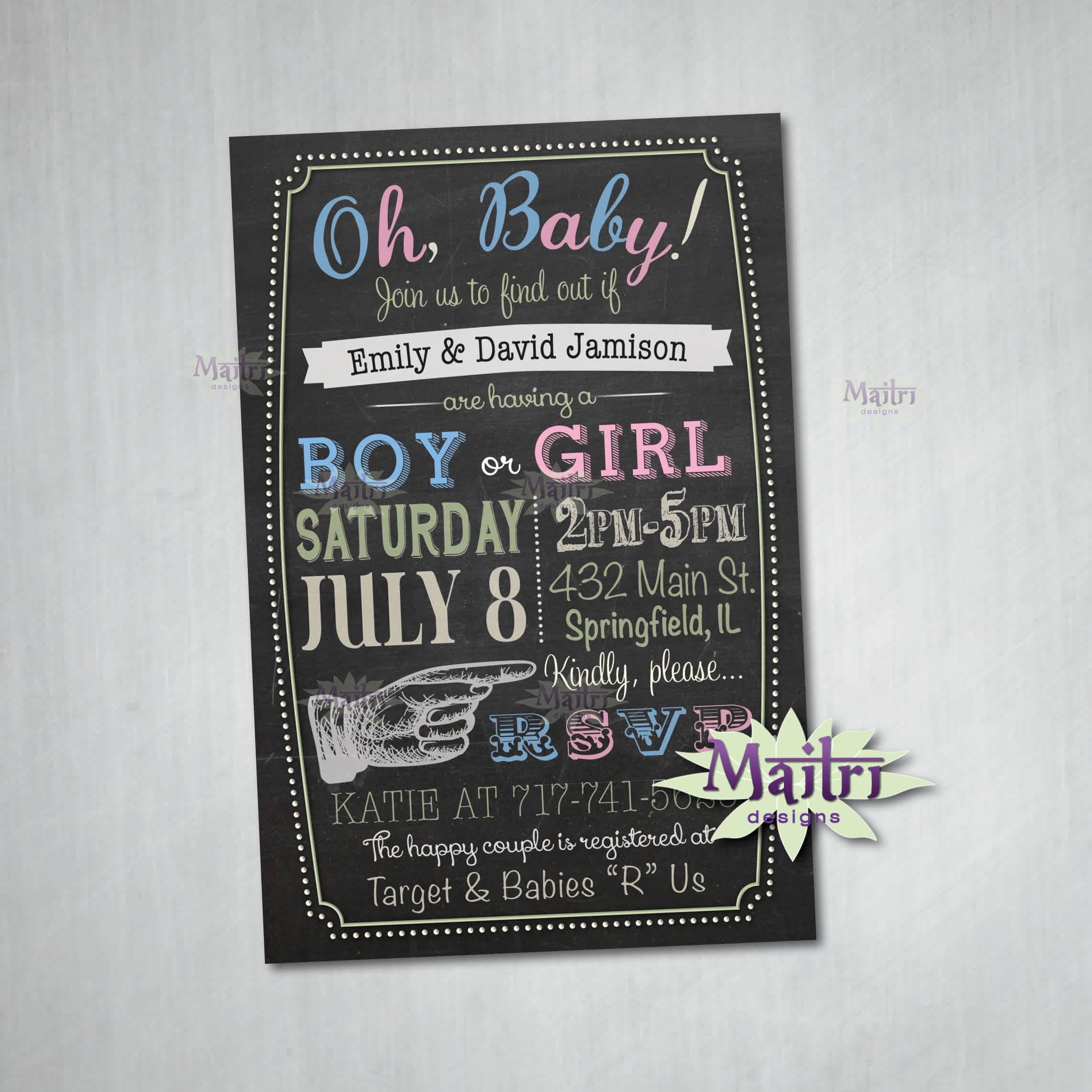 Baby Shower Gender Reveal Digital Printable Birthday Invitation On Storenvy
