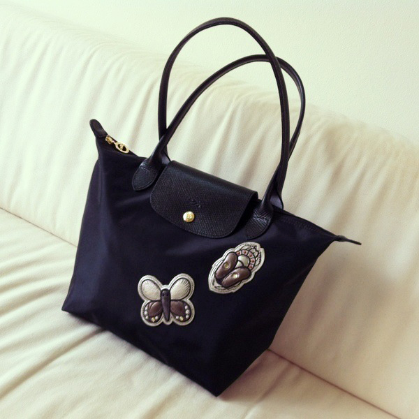 32ae49934e22 LONGCHAMP Medium Black Le Pliage Insect Badges Bag on Storenvy