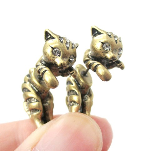 Unique Fake Gauge 3d Kitty Cat Animal Faux Tapers Stud