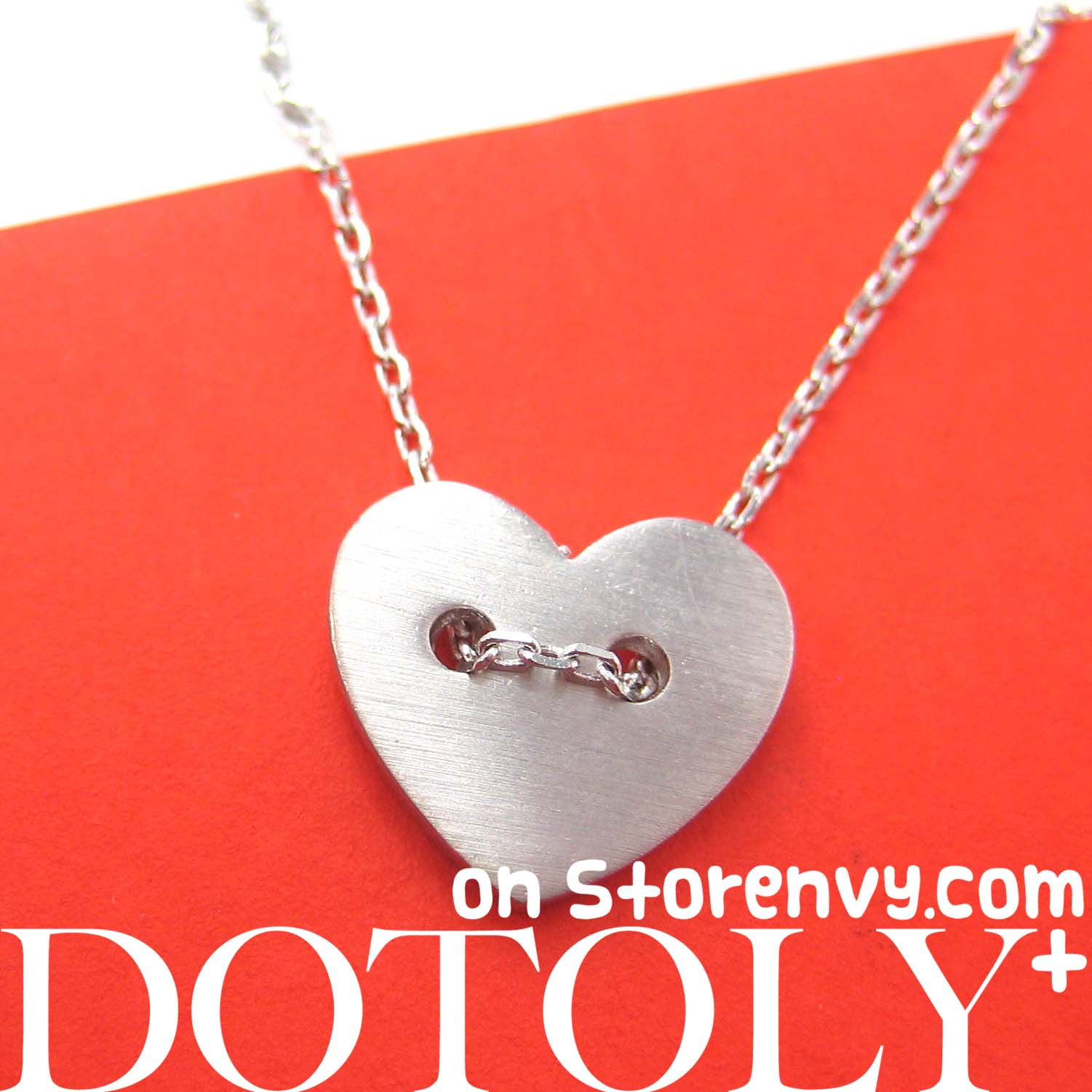 Simple Heart Shaped Button Love Charm Necklace in Sterling Silver from  Dotoly Plus