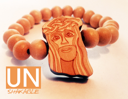 Wooden Jesus Piece Bracelet Natural From Idie Merch Table