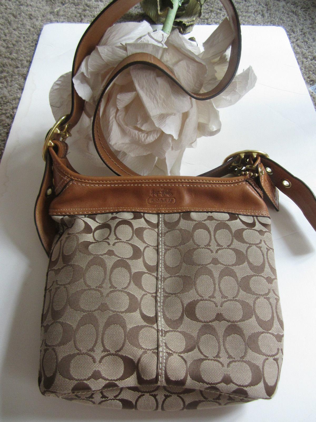 NEW Authentic Coach Designer signature C Vachetta Tan Leather Buckled Saddle Handbag/purse~ Retails $249 (20203165 FURBUYSPLUS TOO!!) photo