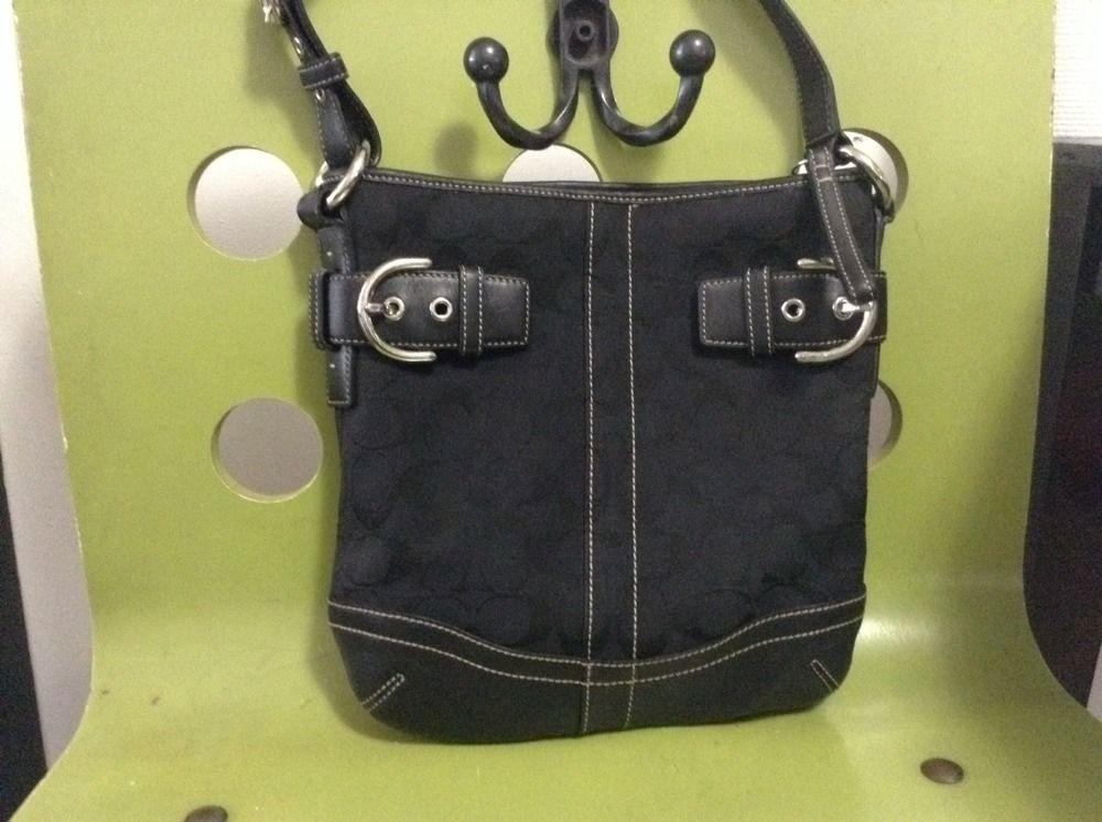Authentic Coach Black Designer Signature C Buckled Handbag/purse (20316244 FURBUYSPLUS TOO!!) photo