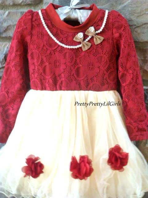 Red Girls Dress Toddler Girl Dress Girls Holiday Dress Girls Fall