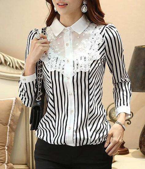 4b148772e3bdf8 XXS XS S M L black white mesh lace bib striped puff long sleeve chiffon  blouse gothic lolita shirt button top · Tokimeki Lace · Online Store  Powered by ...
