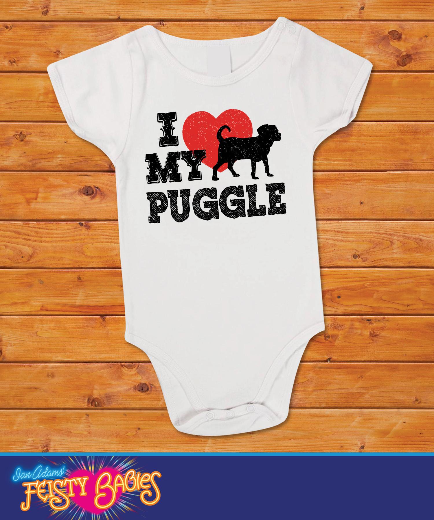 519f4c4e18d2 I Love My Puggle Baby one piece