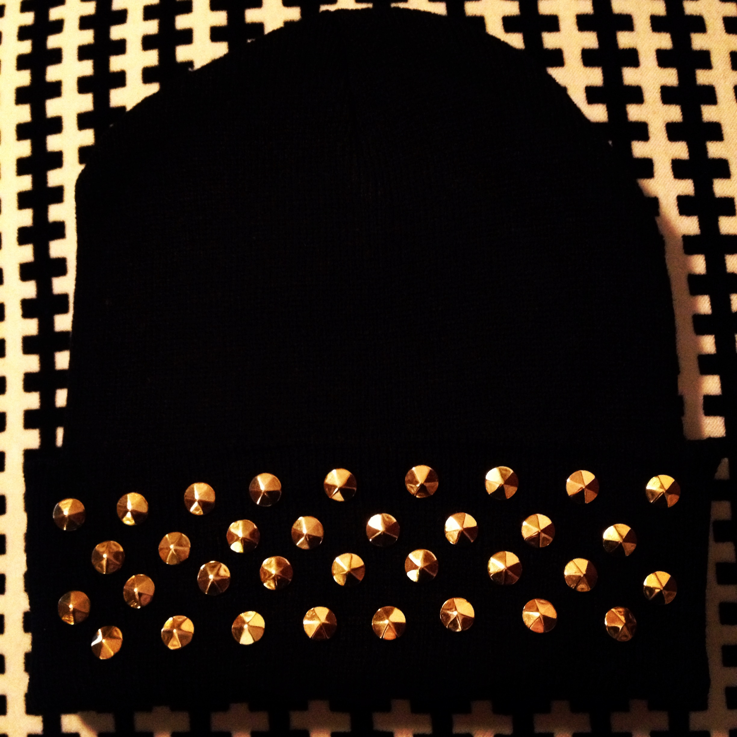 BLACK BEANIE WITH MULTIPLE GOLD STUDS · shopdopemo · Online Store ... e1b50fca373
