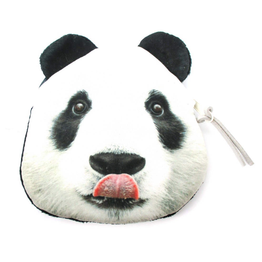Realistic Panda Bear Face Shaped Soft Fabric Zipper Photo Print Coin Purse Make Up Bag (21734260) photo