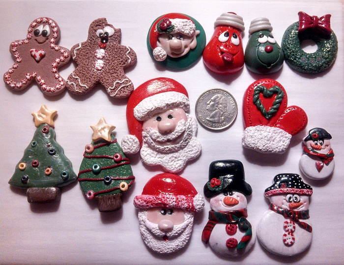 Polymer Clay Christmas Charms.Polymer Clay Christmas Bow Centers And Charms Sold By The Bumble Bee Hive