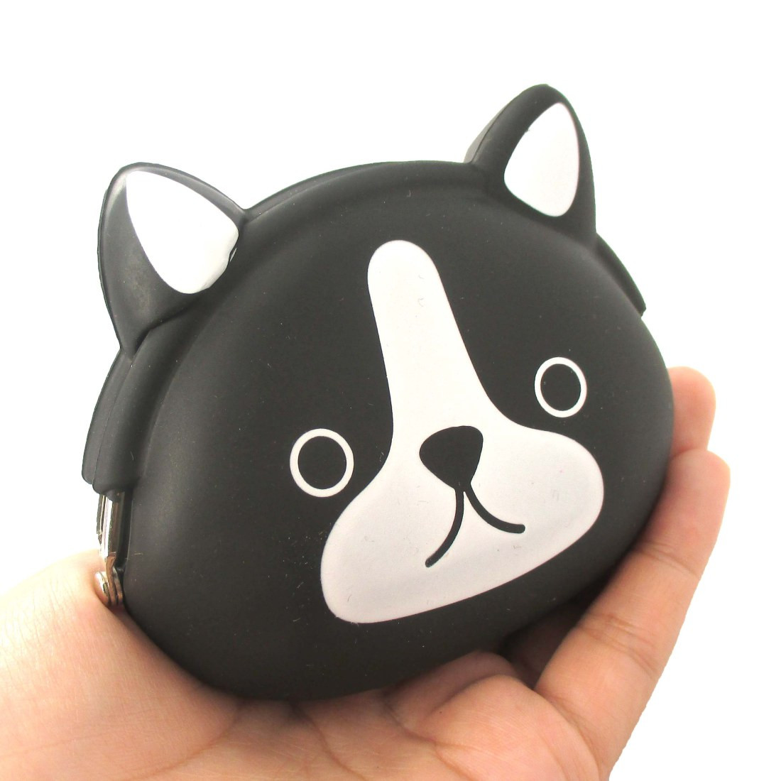 Black and White French Bulldog Puppy Dog Shaped Animal Friends Silicone Clasp Coin Purse Pouch (21738178) photo