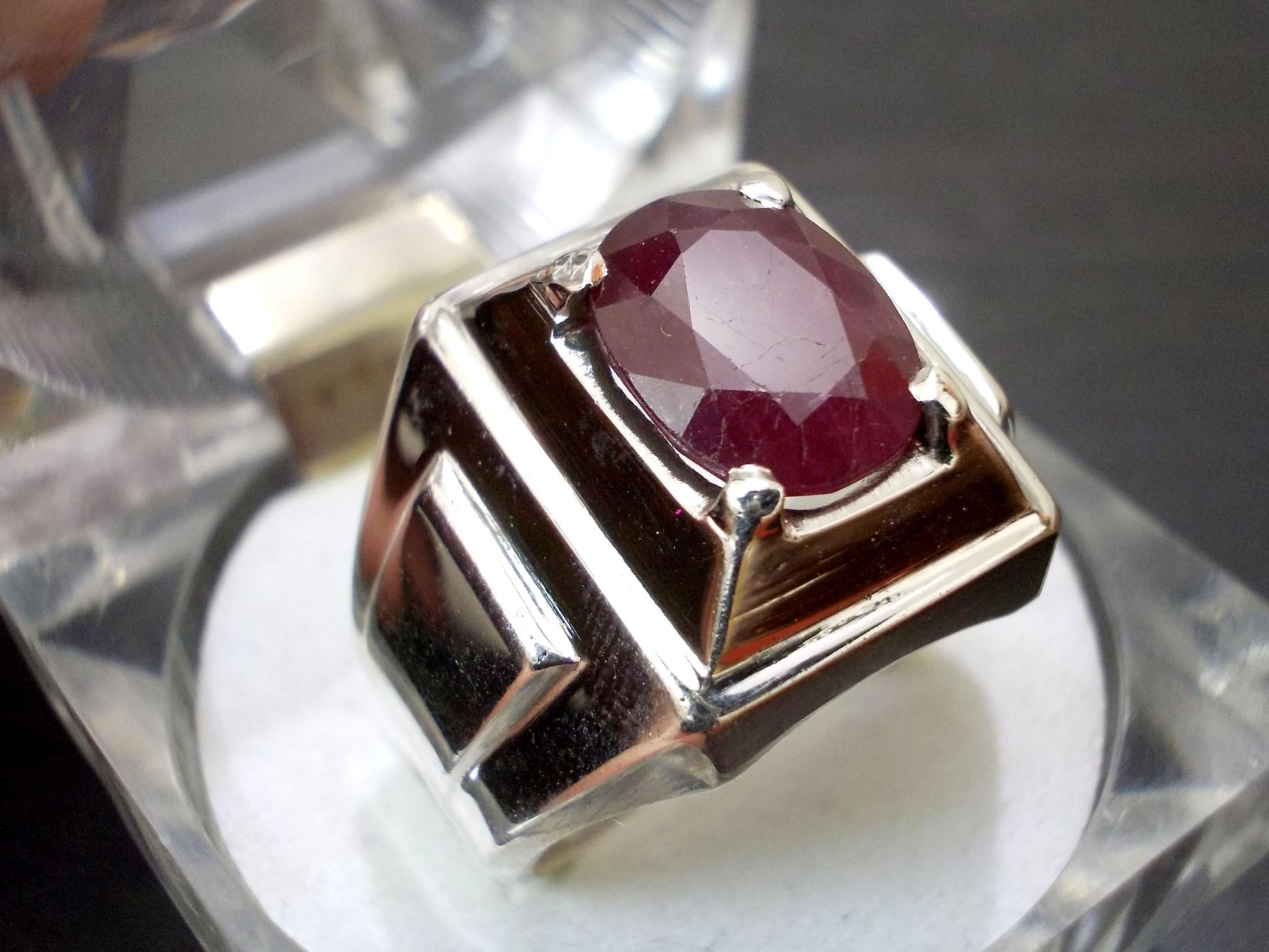 Ruby Wedding Gifts For Men: Oval Dark Red Ruby Men Ring In 925 Sterling Silver New