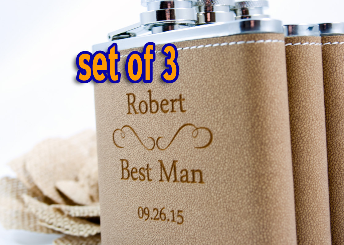 3 Personalized Groomsmen gifts, Three Leather Engraved Flasks 6oz for  Groom, Best Man, Groomsmen, Hip Flask SET OF 3 - CLASSIC from Marked Moments