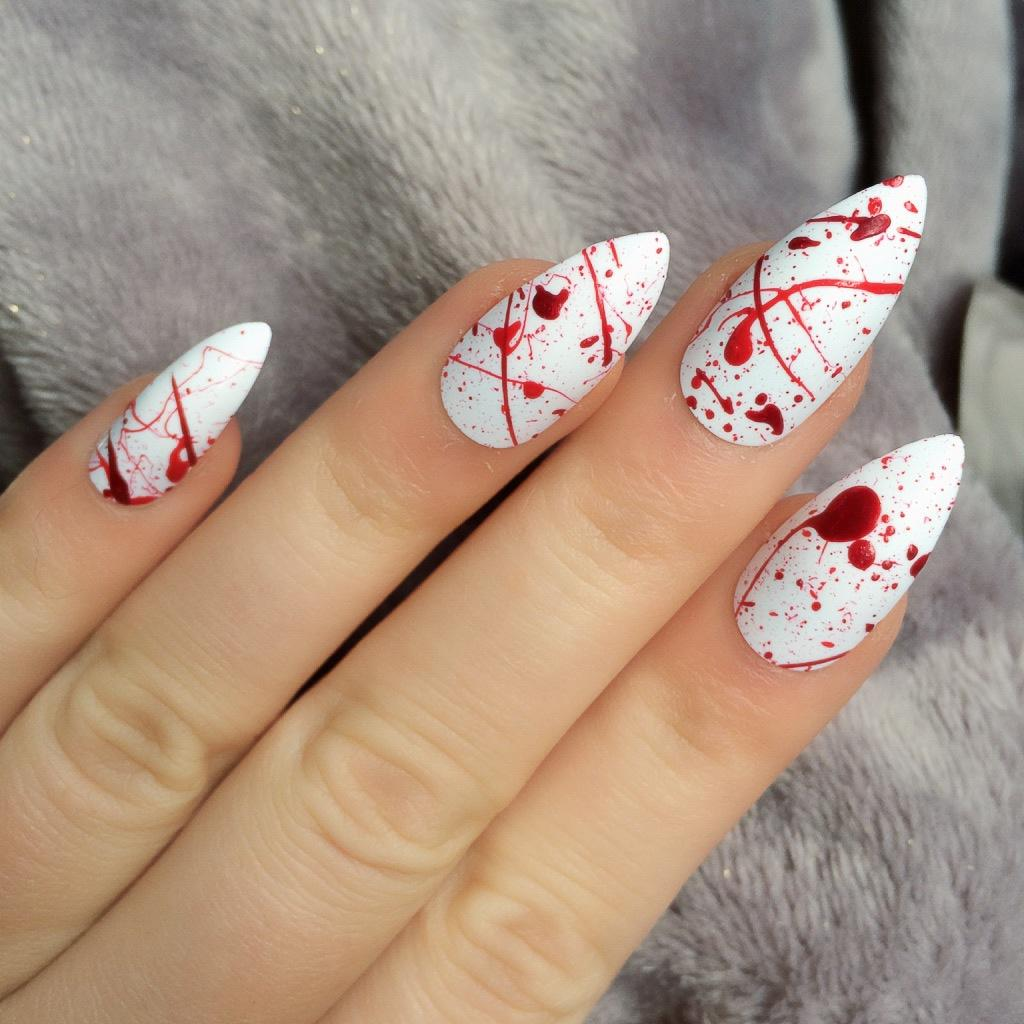 H1 Doobys Nails - Blood Splatter Stiletto - 24 Hand ...