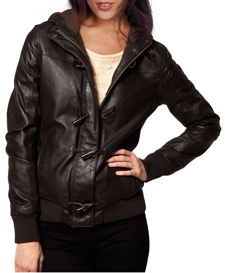 f91c6fa66 WOMENS BROWN COLOR LEATHER JACKET, HOODED LEATHER JACKET WOMEN, BIKER  JACKET WOMEN from Rangoli Collection