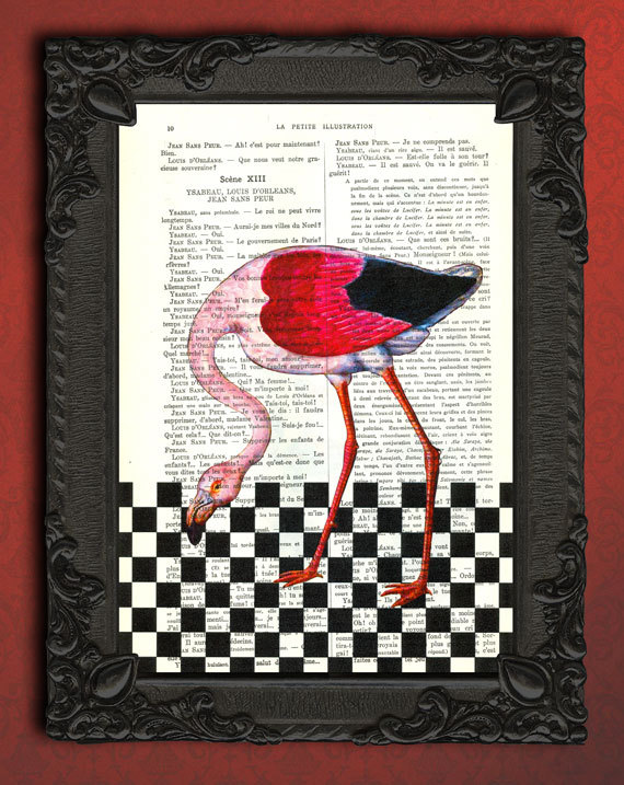 flamingo dictionary art, bird decor, black white square, flamingo book page  print sold by MadameMemento
