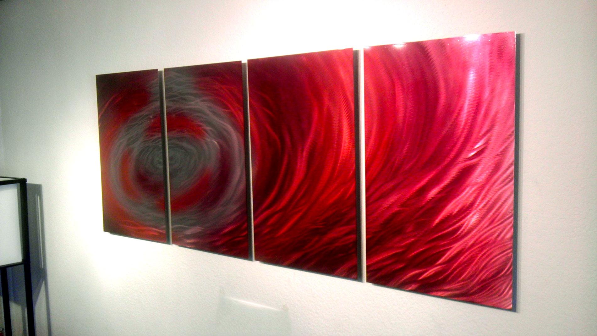 Crimson Ripple- Abstract Metal Wall Art Contemporary