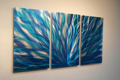 Radiance Blue Metal Wall Art Abstract Contemporary Modern