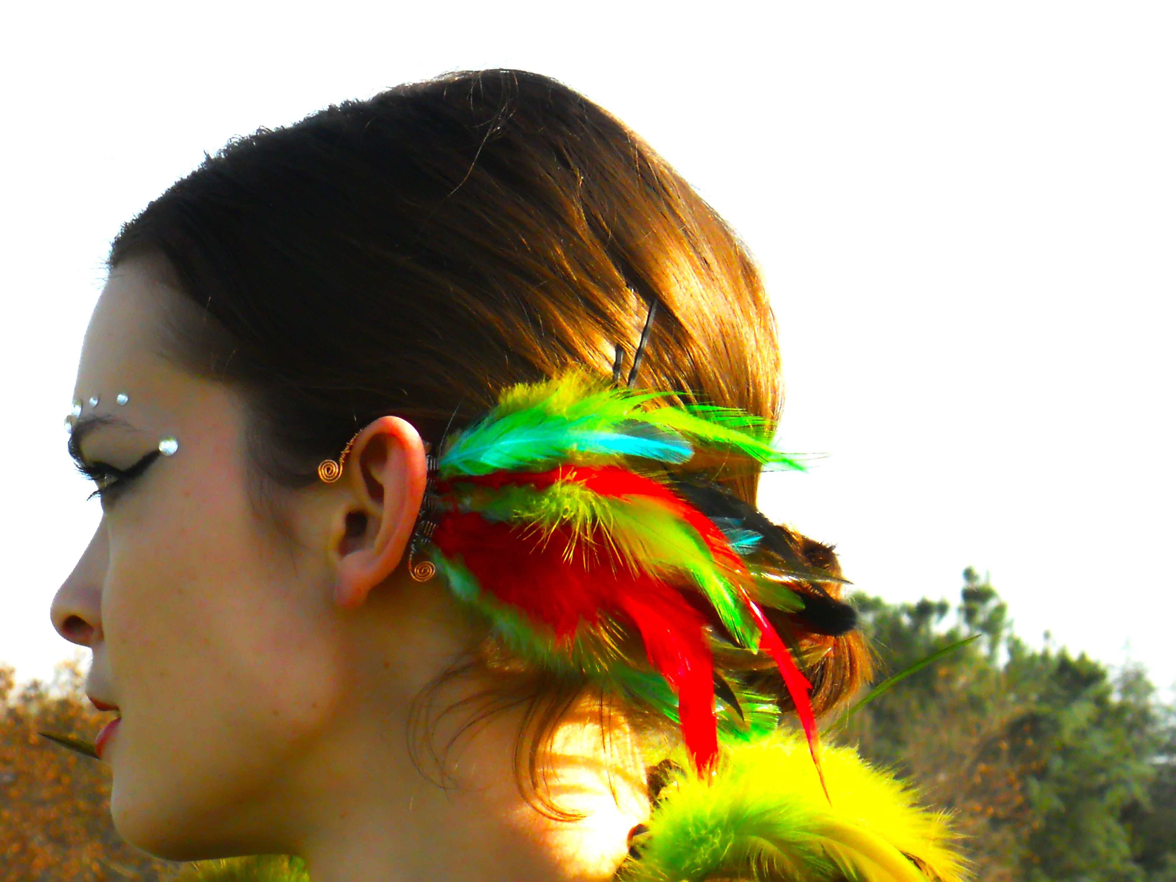 Spiritual Aura Feather Ear Cuff / Earcuff: Copper Wire -  Red/Yellow/Blue/Green Rooster Feathers from Love Your Creations