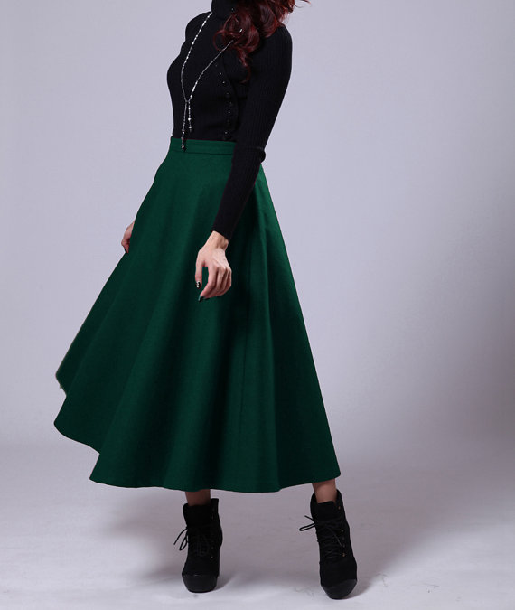 946d9c93af22 Dark green woman long winter wool dress thick maxi skirt party dress on  Storenvy