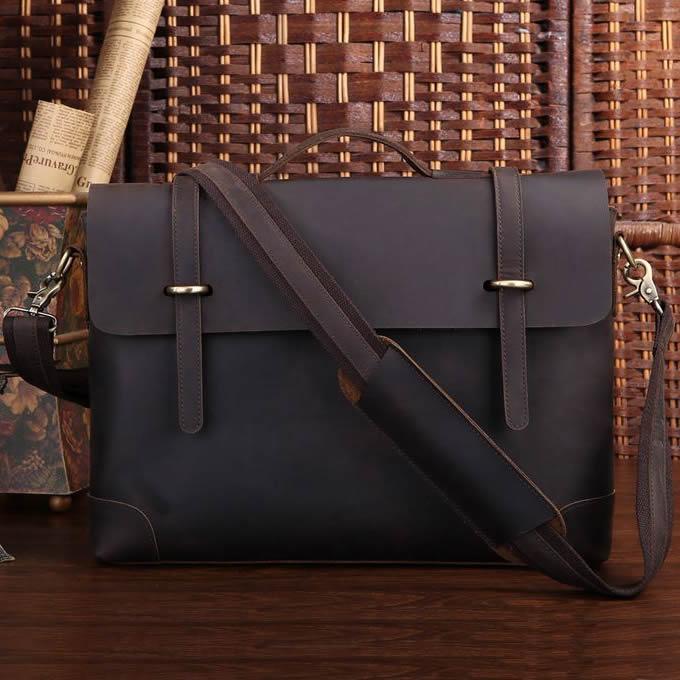 24b3e7da3 Men's Handmade Vintage Leather Briefcase / Leather Messenger Bag / 13