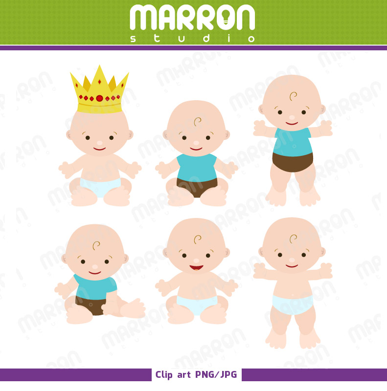 Cute Baby Boy Clipart Set Printable Great For Baby Showers Newborn