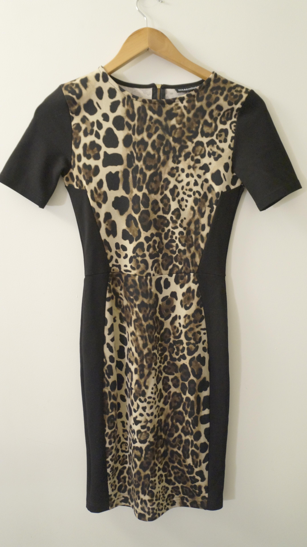 a7e6b667a1ba Warehouse Leopard Print Black Panel Pencil Dress · Marla's Vintage ...