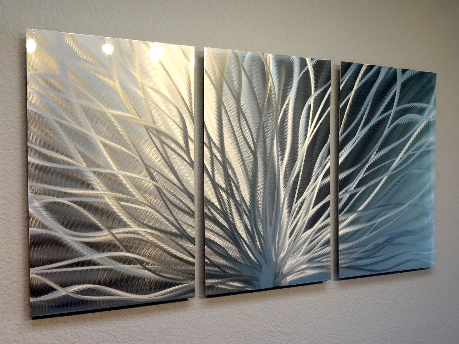 Art Décor: 3 Panel Metal Wall Art Abstract Contemporary