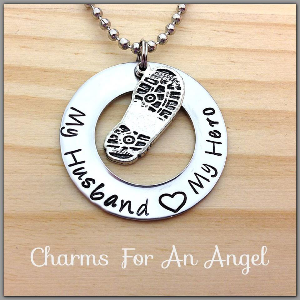 Image of Hand Stamped Boot Print Washer Great For Soldiers Wife or Girlfriend