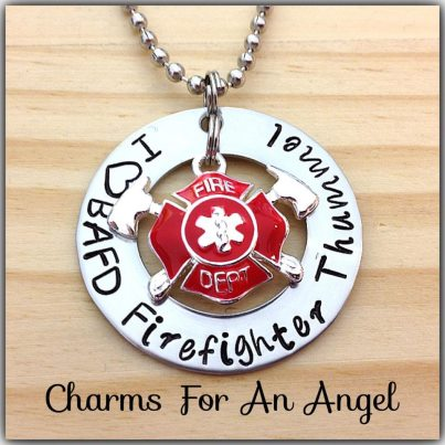 Image of Custom Hand Stamped Hand Cuffs Washer Great For Firefighter Wife or Girlfriend