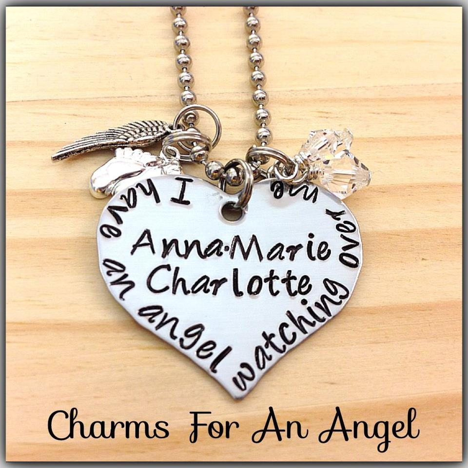 Image of Custom Hand Stamped Heart Necklace With I Have An Angel Watching Over Me Miscarriage or Memory Jewelry