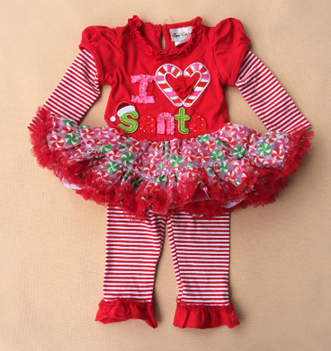 Rare Editions Christmas Toddler.Children Clothing Girls Princess Christmas I Love Santa Dress Long Sleeves Tutu Dress Red Leggings Rare Editions Sold By Flowers And Fairy Tales