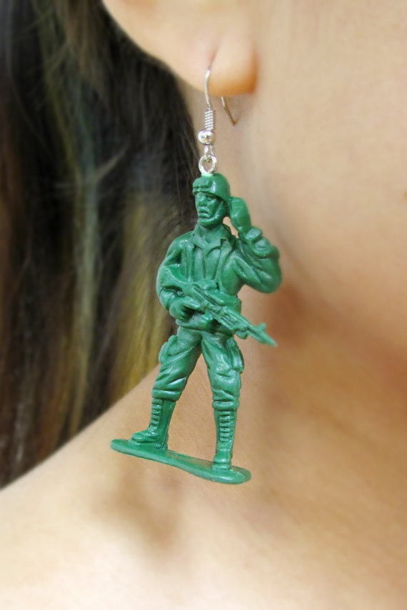 Ooo Sold As A Pair Earrings Upcycled Retro Green Toy Soldier